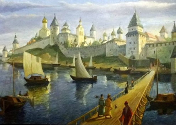 Средневековье: Новгородский торговый путь от Балтийского моря через Великий Новгород к Москве